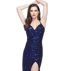 b67bfa0ced Primavera coutoure rose gold sequin evening gown.  125  275. Navy blue  evening gown